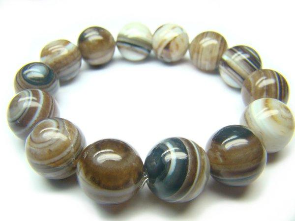 BAGBRE0709X Black & White Agate Round Shape 14mm Bracelet