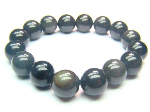 BOBXRS1400X Obsidian  Round Shape  12mm Bracelet