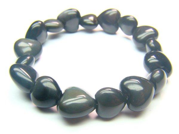BOBXDM1012X Obsidian  Heart Shape  12mm Bracelet