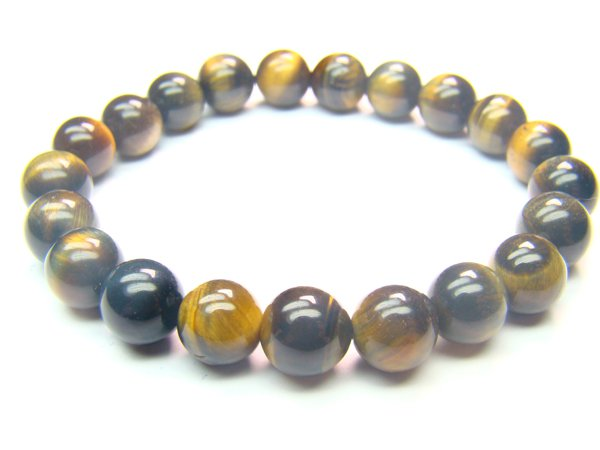 BTEMHS1000X Blue Tiger Eye  Round Shape  8mm Bracelet