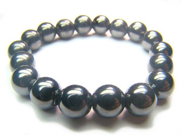 BHEXRE0508X Hematite Round Shape 10mm Bracelet