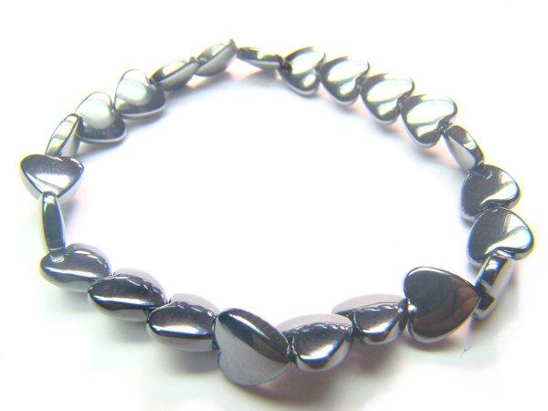 BHEXSS0809X Hematite Heart Shape 8mm Bracelet