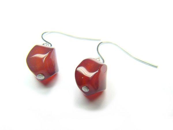 EAGXCY0609X Red Agate S-Shape 8x10mm Earrings