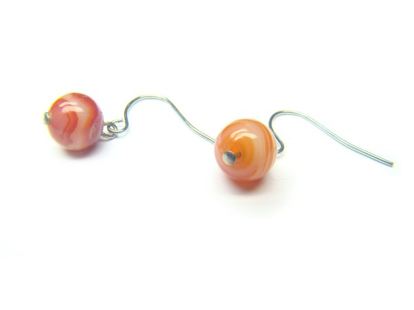 EAGERS1000X Red Agate wt Lace Round Shape 8mm Earrings