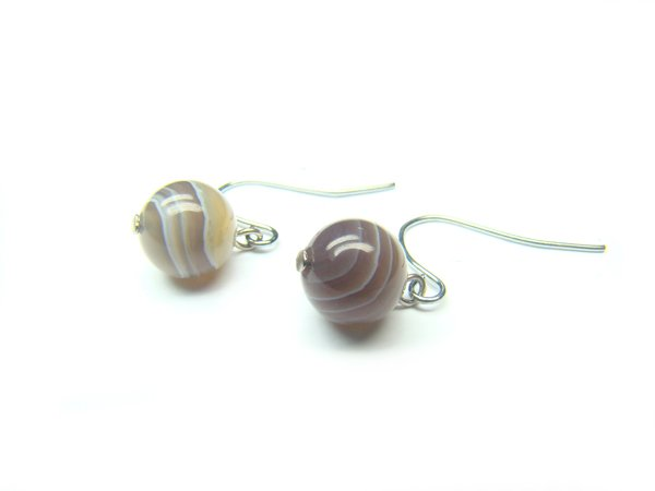 EBOTRS1000X Botswana Agate Round Shape 8mm Earrings