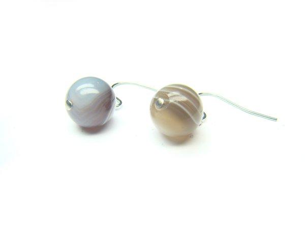 EONXRS0600X Botswana Agate Round Shape 10mm Earrings