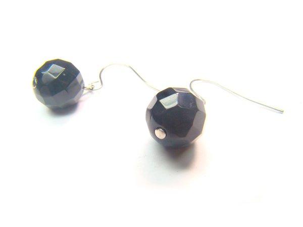 EONXDO0306X Onyx Round Shape 10mm Cut Earrings