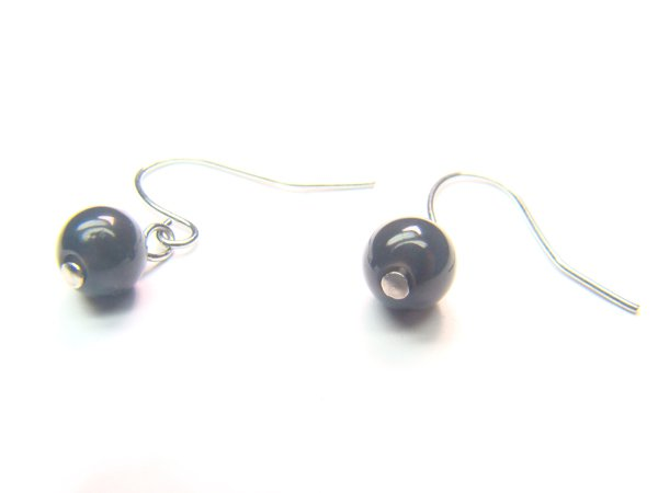 EOBXRS0800X Obsidian  Round Shape  6mm Earrings