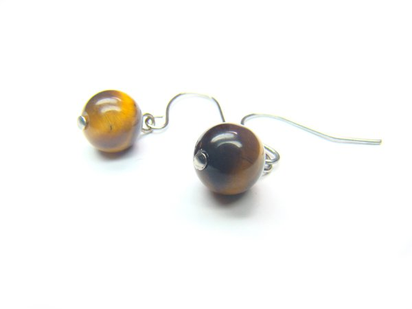 ETEXRS1000X Tiger Eye  Round Shape  8mm Earrings
