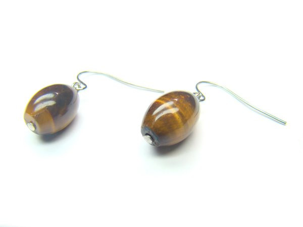 ETEXOS0810X Tiger Eye  Rice  8x12mm Earrings