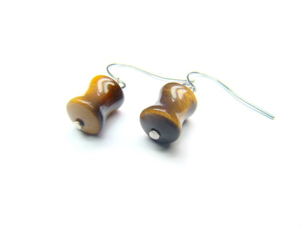 ETEXCY0608X Tiger Eye  Peanut Shape  7x10mm Earrings