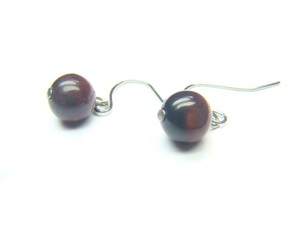 ETERRS1000X Red Tiger Eye  Round Shape  8mm Earrings