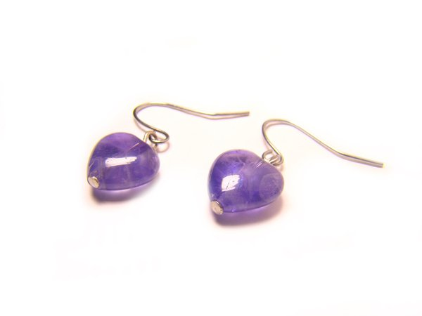 EAMXHS1200X Amethyst  Heart Shape  10mm Earrings