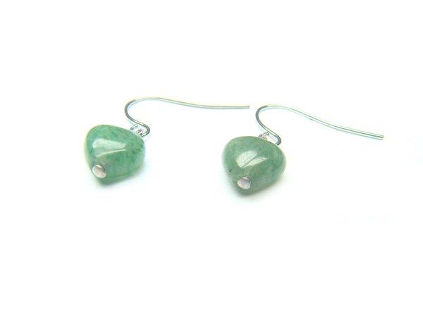 EAVXHS1000X Aventurine Heart Shape 8mm Earrings