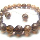 BSQXDO036C Smoky Quartz Round Shape 8mm Cut Bracelet