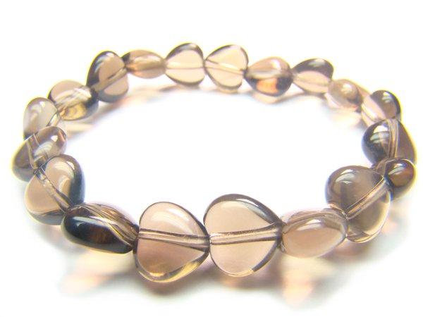 BSQXRE0710X Smoky Quartz Heart Shape 10mm  Bracelet