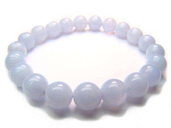 BCTXIRXXXXX Blue Lace Agate Round Shape 8mm  Bracelet