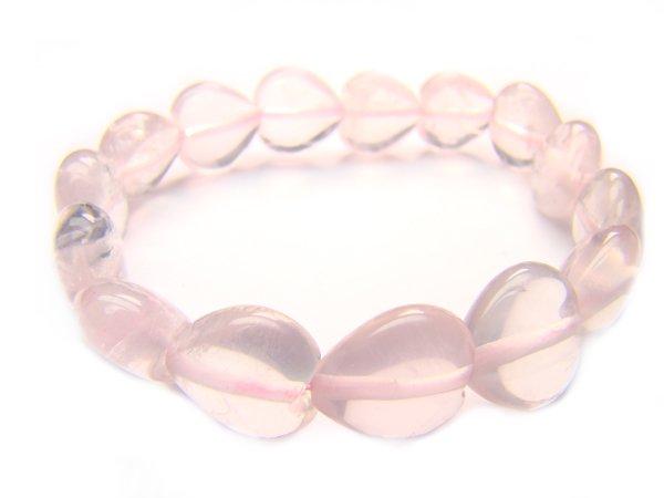 BRQXHS1400X Rose Quartz Heart Shape 12mm  Bracelet