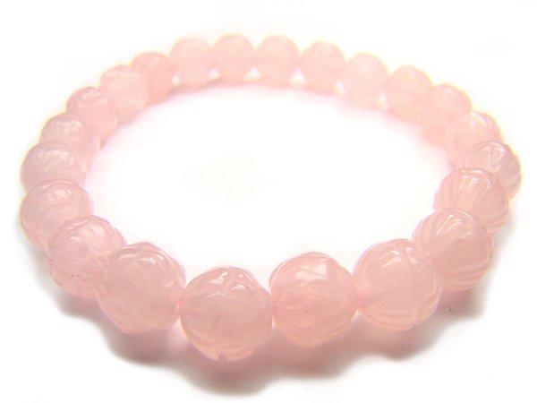BRQXSS0811X Rose Quartz Lotus Shape 8mm  Bracelet