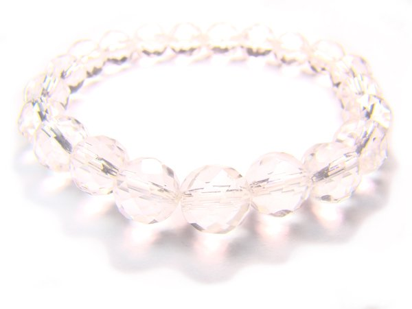 BRCXRS1000C Clear Quartz Round Shape 8mm Cut Bracelet
