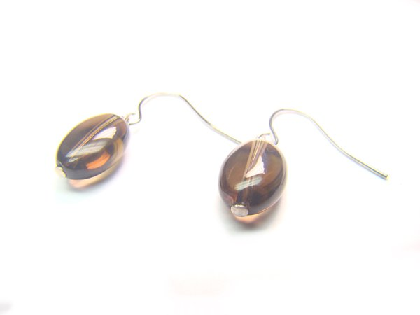 ESQXSP1000C Smoky Quartz Oval Shape 8x12mm  Earrings