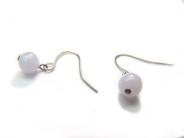 EBLXRS0800X Blue Lace Agate Round Shape 6mm  Earrings