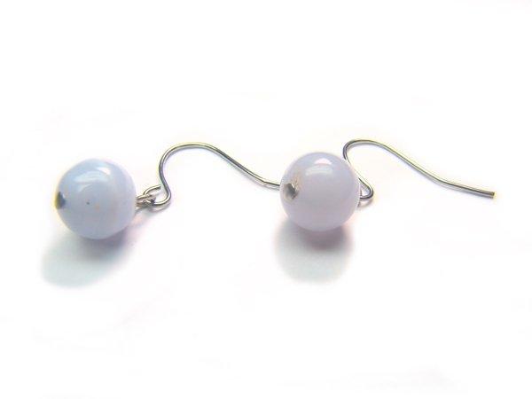 ERQXRS0600X Blue Lace Agate Round Shape 8mm  Earrings