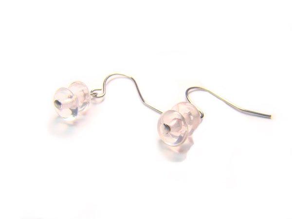 ERQXDO0408C Rose Quartz Donut Shape 3x6mm  Earrings