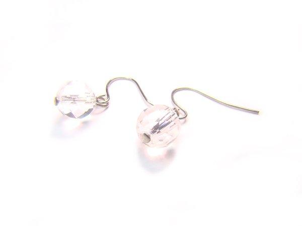 ERCXRS1000C Clear Quartz Round Shape 8mm Cut Earrings
