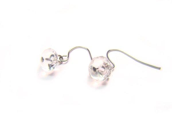 ERCXSS0507X Clear Quartz Donut Shape 4x8mm Cut Earrings