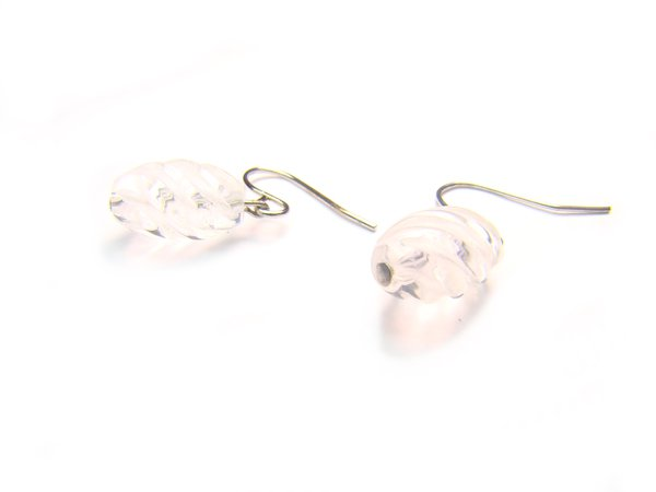ERCXRE0710X Clear Quartz S Shape 8x12mm Cut Earrings