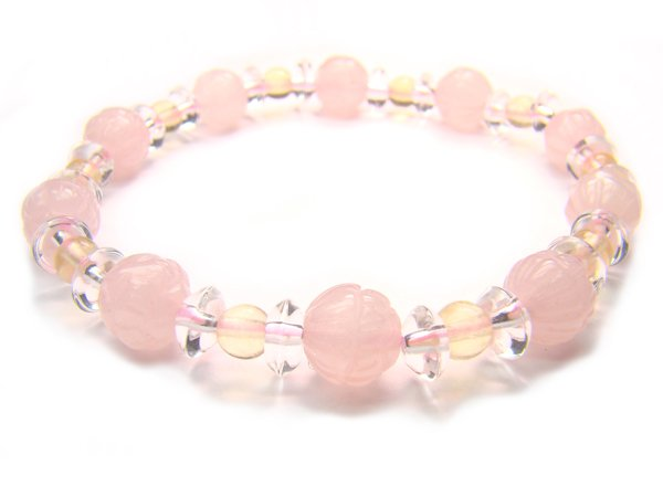 BA9864 Rose Quartz Citrine Clear Quartz Bracelet 8