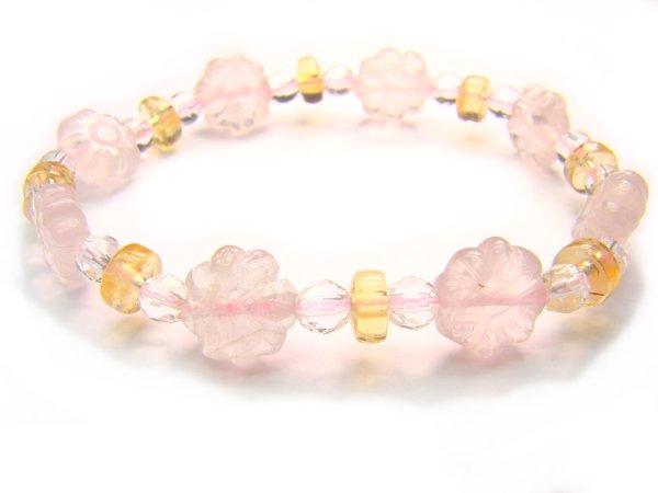 BA9854 Rose Quartz Citrine Clear Quartz Bracelet 11