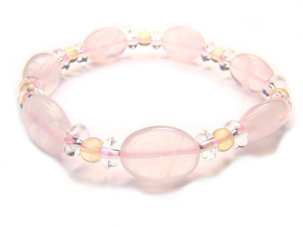 BA9856 Rose Quartz Citrine Clear Quartz Bracelet 12