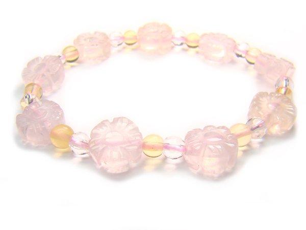 BA9860 Rose Quartz Citrine Clear Quartz Bracelet 14
