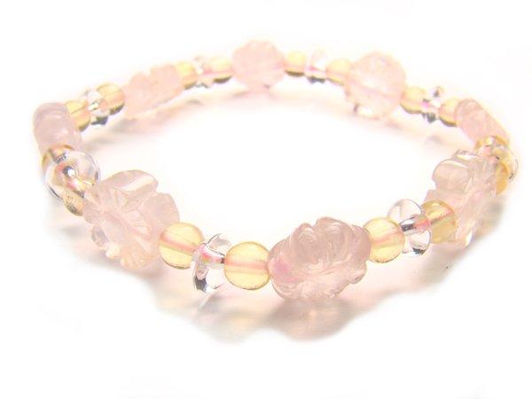 BA9863 Rose Quartz Citrine Clear Quartz Bracelet 15