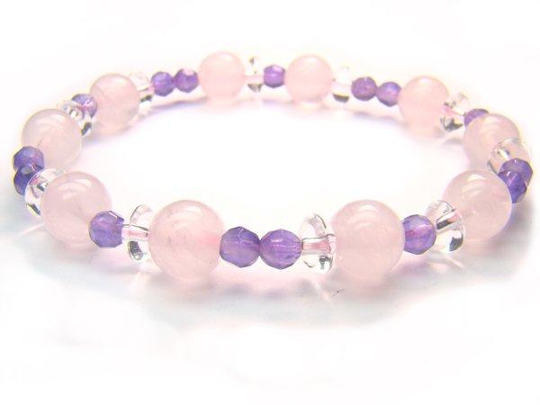 BA7097 Rose Quartz Amethyst Clear Quartz Bracelet 2