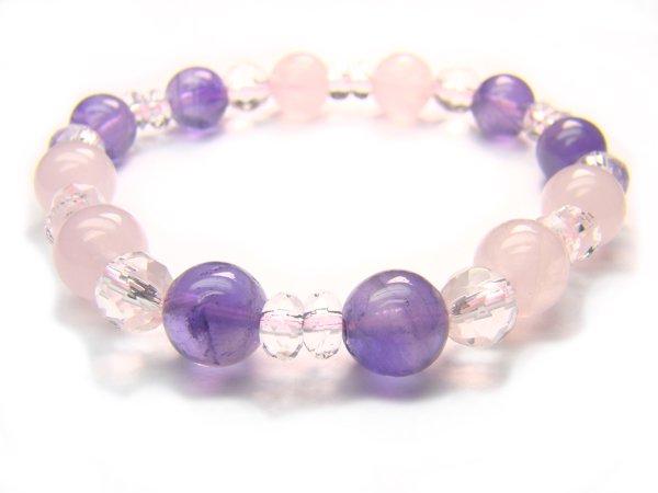 BA7232 Rose Quartz Amethyst Clear Quartz Bracelet 3