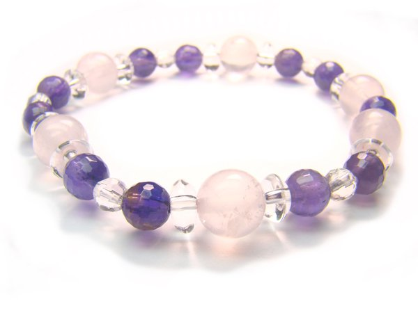 BA8160 Rose Quartz Amethyst Clear Quartz Bracelet 4