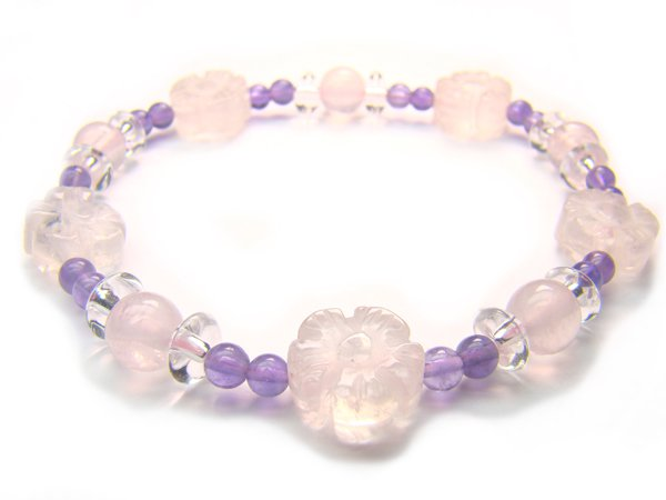 BB2 Rose Quartz Amethyst Clear Quartz Bracelet 6
