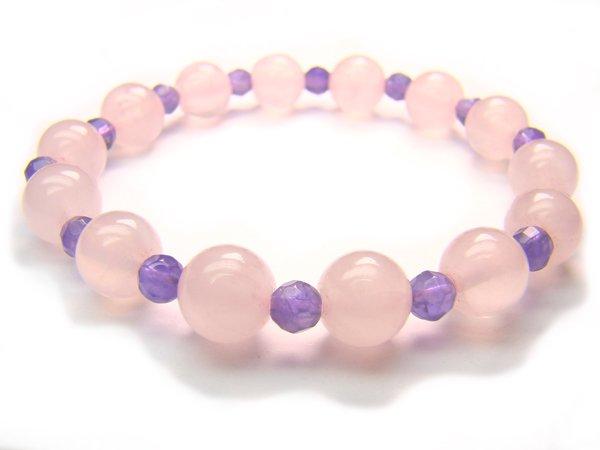 BB37 Rose Quartz Amethyst Clear Quartz Bracelet 15