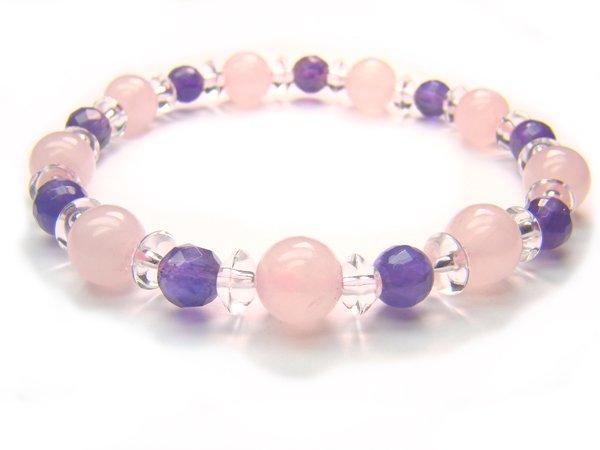 BB45 Rose Quartz Amethyst Clear Quartz Bracelet 16