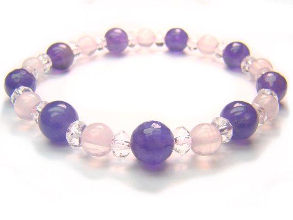 BB46 Rose Quartz Amethyst Clear Quartz Bracelet 17