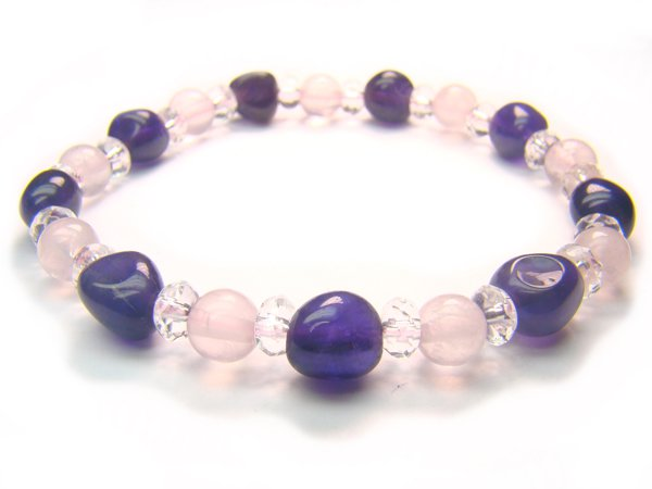 BA9999 Rose Quartz Amethyst Clear Quartz Bracelet 18