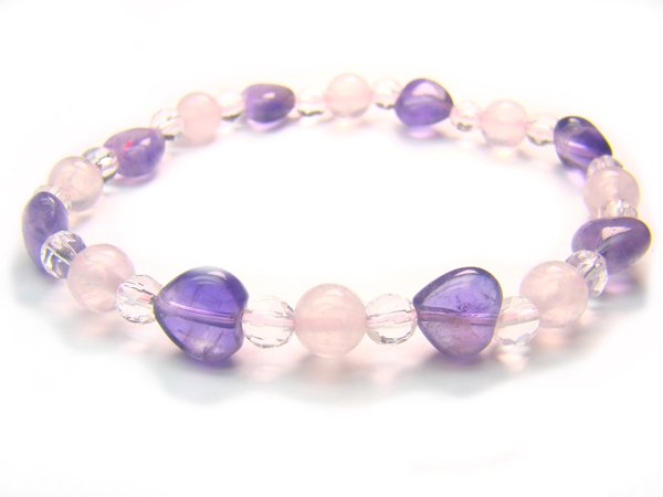 BB48 Rose Quartz Amethyst Clear Quartz Bracelet 24
