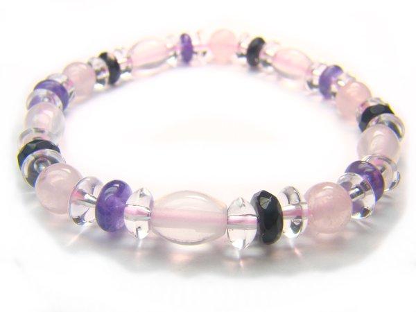 BA9972 Rose Quartz Onyx Amethyst Clear Quartz Bracelet 4