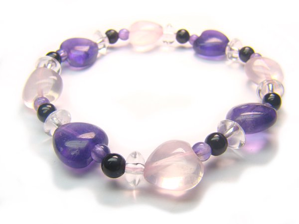BB3 Rose Quartz Onyx Amethyst Clear Quartz Bracelet 9