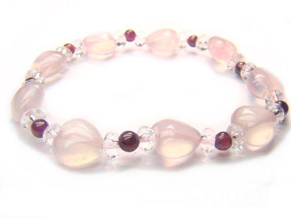 BB16 Rose Quartz Garnet Clear Quartz Bracelet 1