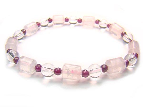 BB52 Rose Quartz Garnet Clear Quartz Bracelet 6