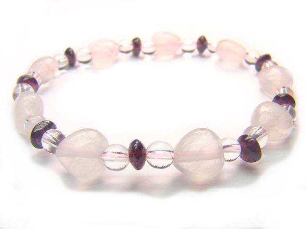 BB53 Rose Quartz Garnet Clear Quartz Bracelet 7